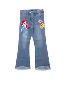 Monnalisa - Blue jeans with embroidery The Little Mermaid