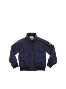 Stone Island Junior - Blue jacket with front pockets