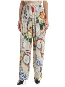 Moschino Boutique - Trousers in beige georgette