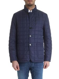 Fay - Puffed jacket in blue technical fabric