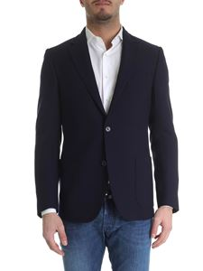 Fay - Two-buttoned jacket in dark blue woven fabric