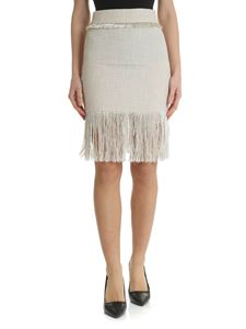 Blumarine - Ecru color skirt with fringes
