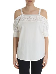 Blugirl - Ivory-colored off-shoulder top in broderie anglaise