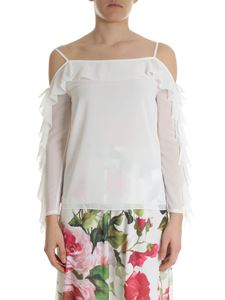 Blugirl - White off-shoulders blouse with ruffles