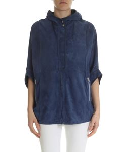 Simonetta Ravizza - Blue denim hooded suede jacket