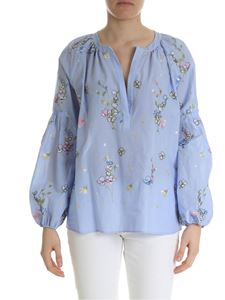 Blugirl - Light blue blouse with floral embroidery