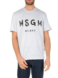 MSGM - Grey T-shirt with paint brushed logo