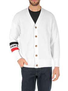 MSGM - White cardigan with logo intarsia