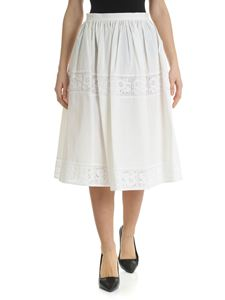 Blugirl - Ivory midi skirt with details in broderie anglaise