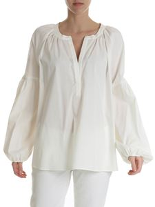 Blugirl - Ivory white blouse with deep neckline