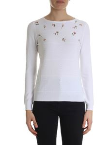 Blugirl - White pullover with floral embroideries