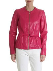 Blugirl - Fuchsia leather jacket with belt