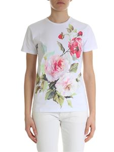 Blugirl - White t-shirt with roses print