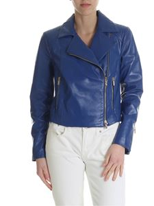 Blugirl - Giacca in pelle bluette con zip dorate