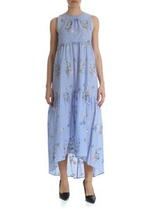Blugirl - Light-blue sleeveless dress with floral embroidery