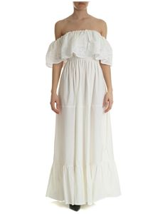 Blugirl - Off-shoulder dress in ivory broderie anglaise