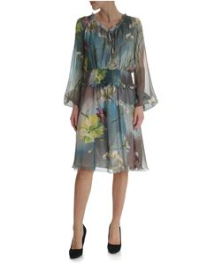 Blumarine - Gray silk dress with floral print