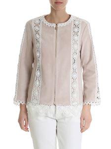 Blumarine - Ecru suede jacket with lace inserts