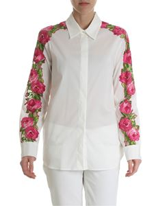 Blumarine - White shirt with rose embroidery