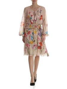 Blumarine - Nude silk dress with floral print