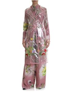 Blumarine - Transparent trench coat with floral embroidery