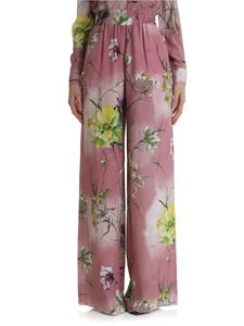 Blumarine - Pink palazzo trousers with floral print