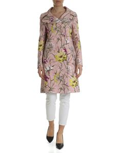 Blumarine - Pink jacquard coat with floral embroidery