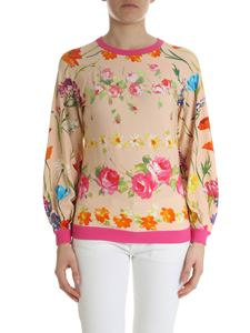 Blumarine - Nude pullover with floral print