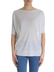 Fay - Silver lamé pullover with boat neckline