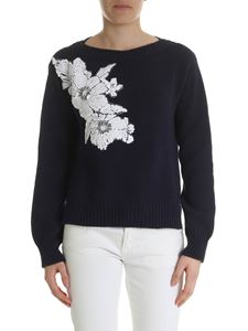 Parosh - Blue pullover with floral patch