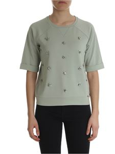 Fay - Sage green t-shirt with rhinestones