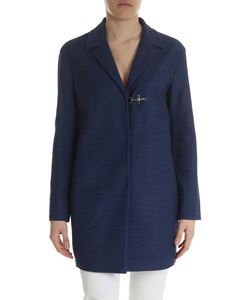 Fay - Blue coat in worked canvas