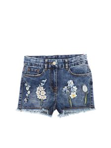 Monnalisa - Blue denim shorts with floral embroidery