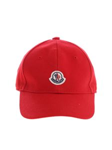 Moncler Jr - Red baseball cap with Moncler logo