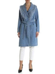 Simonetta Ravizza - Blue denim coat with ostrich feathers