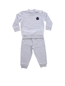 Moncler Jr - Grey cotton tracksuit with Moncler logo