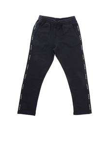 Moncler Jr - Pants with bands in black cotton