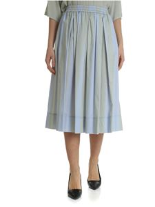 Fay - Striped light blue midi skirt with Fay logo