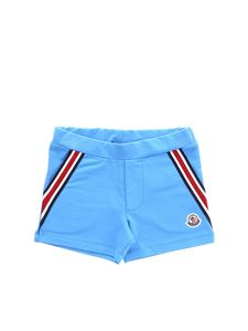 Moncler Jr - Turquoise shorts with knitted details