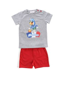 Moncler Jr - Grey and red set with baskett duck print