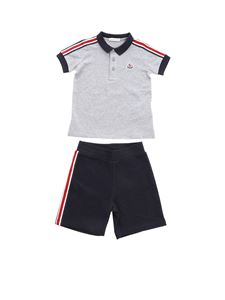 Moncler Jr - Set in grey and blue cotton piquè
