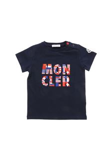 Moncler Jr - Blue T-shirt with Moncler flags