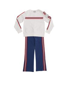 Moncler Jr - White and light blue set with glitter stripes