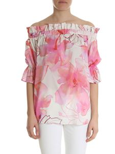 Ballantyne - Blouse in shades of pink with hibiscus print