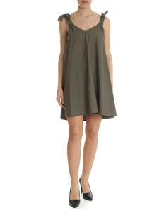 Blugirl - Army green dress with bow on the shoulder straps