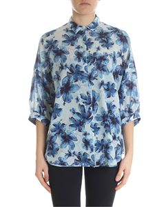 Ballantyne - Shirt in shades of blue with hibiscus print