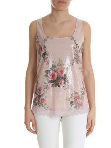 Blumarine - Pink floral printed top with sequins