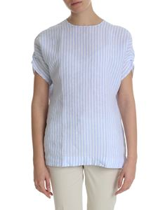 Fay - White and light blue striped blouse