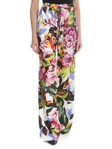 Blugirl - White palazzo trousers with floral print