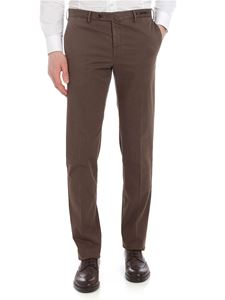PT01 - Super slim brown trousers with micro pattern